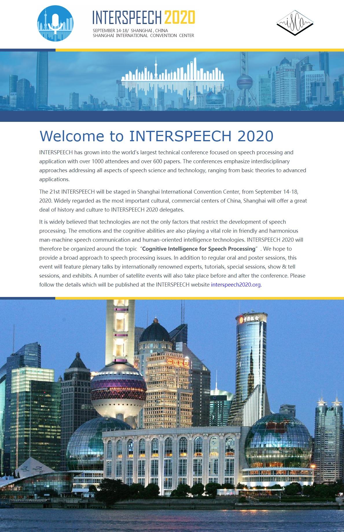 INTERSPEECH 2020
